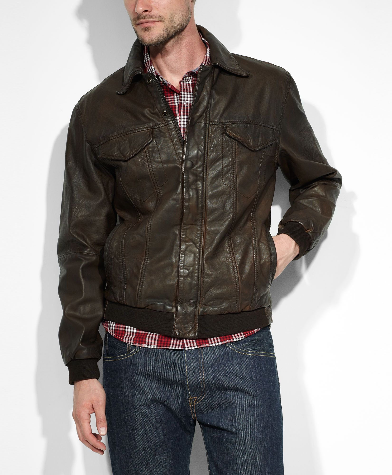 Levi's Leather Trucker Jacket Brown Jackets & Vests