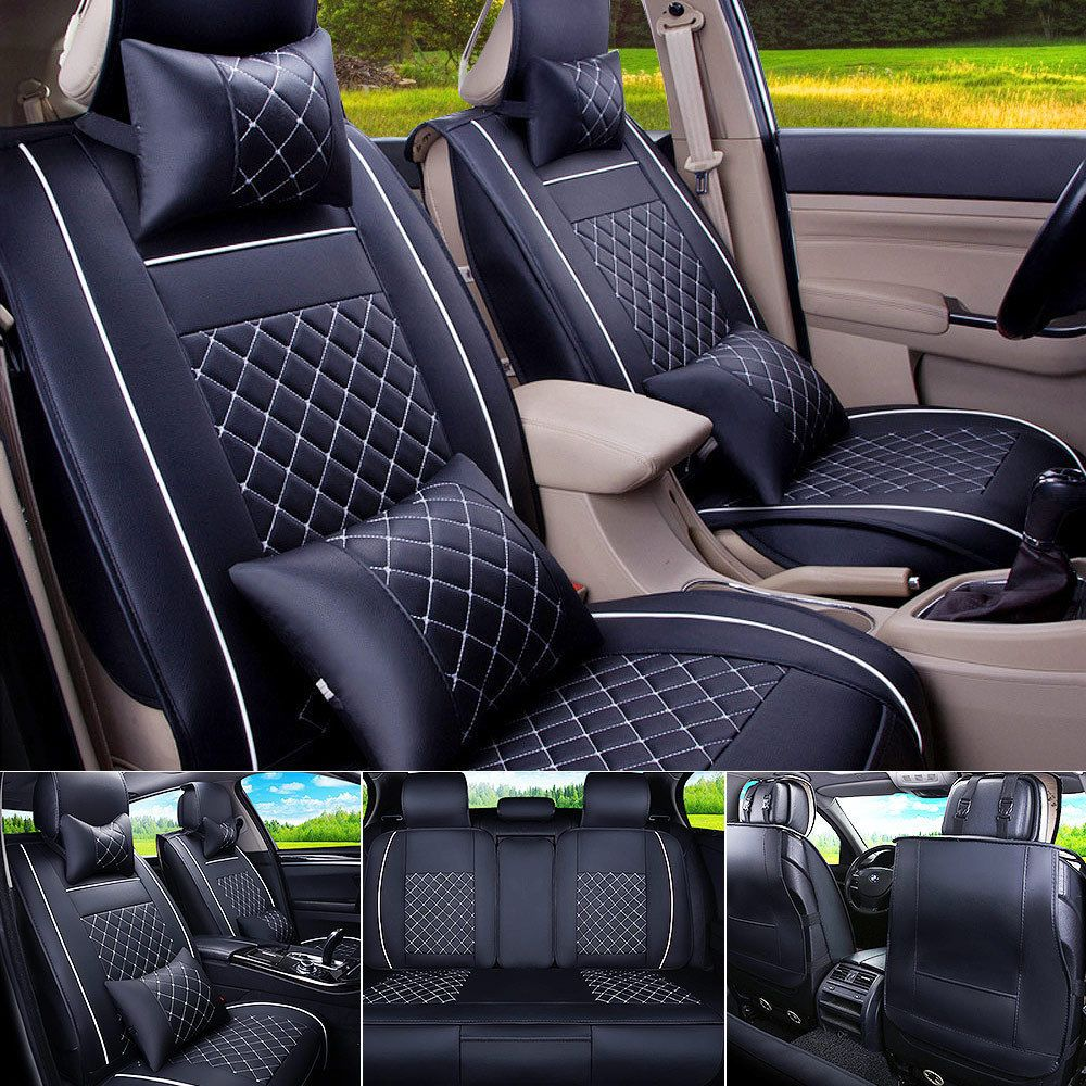 11880 Car Seat Cover PU Leather Front Rear 5 Seats Auto Size M W