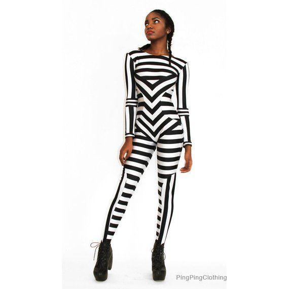 bf295f3406c2 Black and White Striped Print Catsuit Spandex Jumpsuit Unitard Bodysuit  Graphic Pattern Stripes