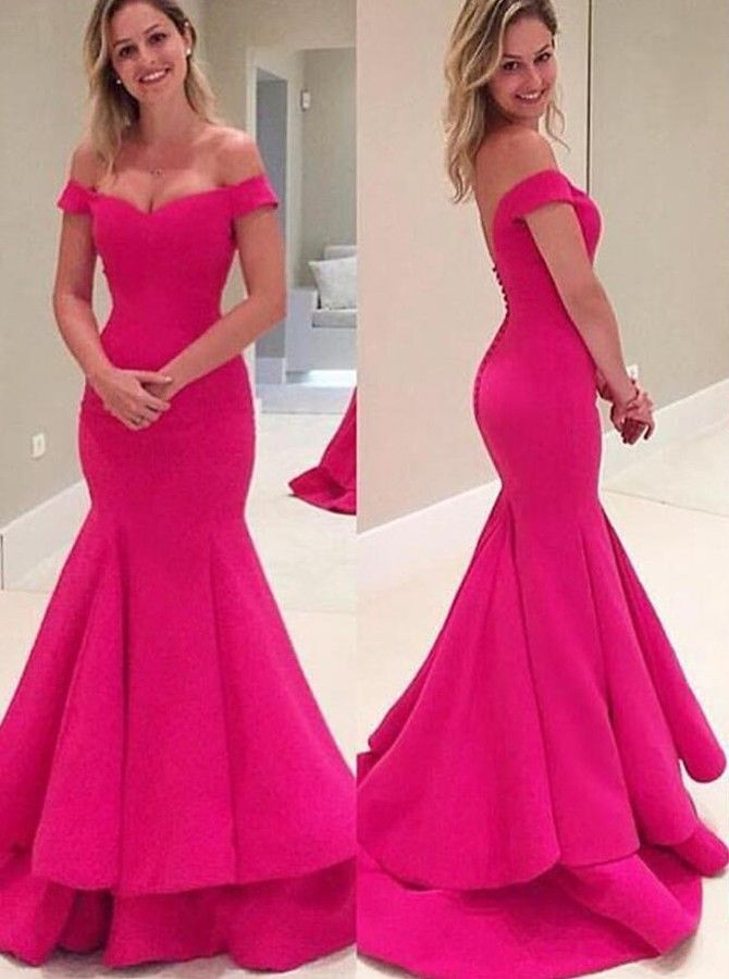 Elegant Off Shoulder Mermaid Fuchsia Prom Dress with Tiered Sweep ...