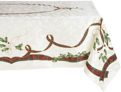 Lenox Holiday Nouveau Tablecloth 60 By 140 Inch Oblong Rectangle Ivory Lenox Http Www Amazon Com Dp B002i With Images Holiday Tablecloths Oblong Tablecloth Table Cloth