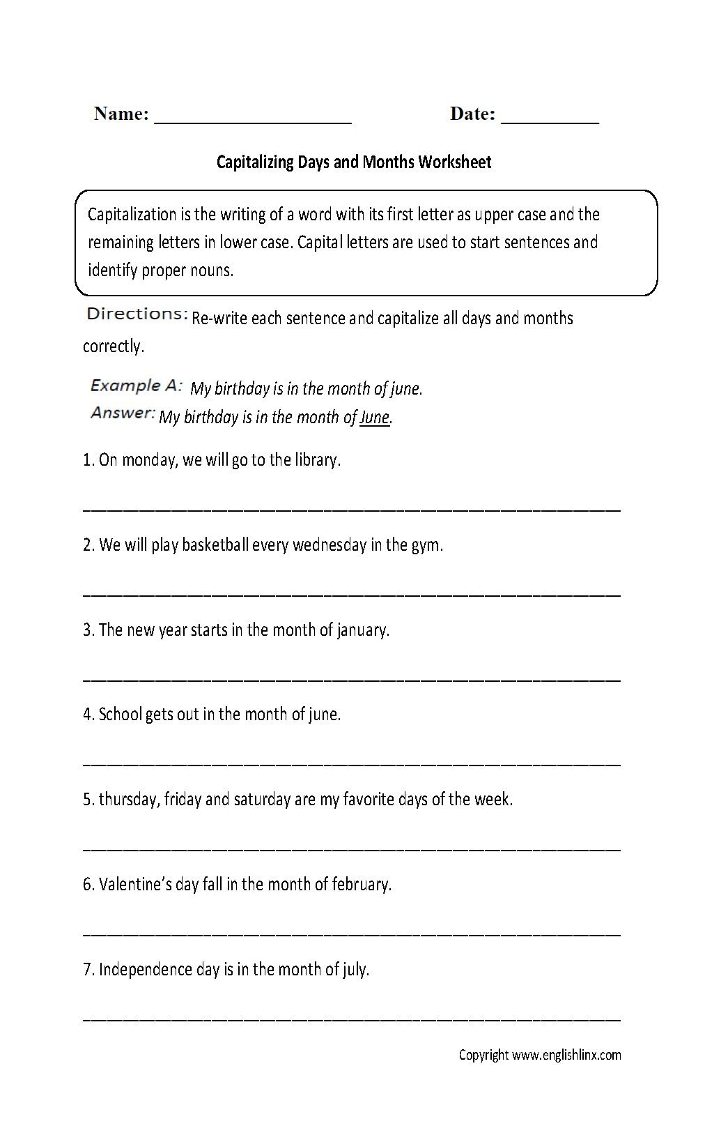 4 Worksheet Free Grammar Worksheets First Grade 1