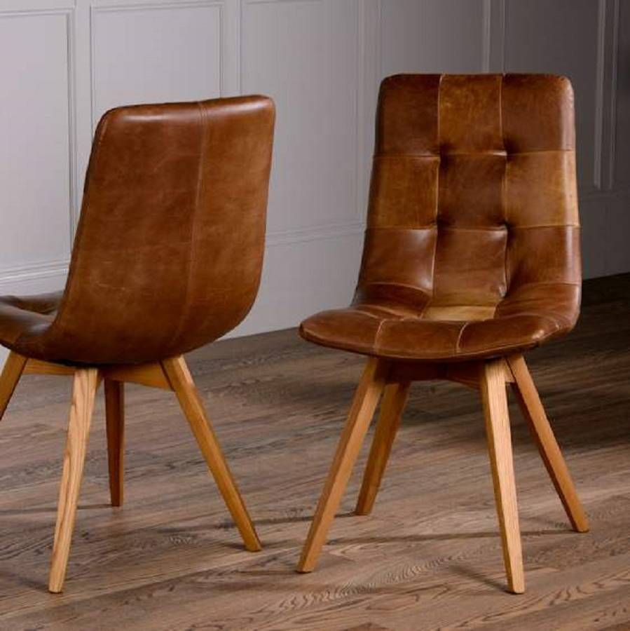 Italian Leather Buttoned Curved Seat Dining Chair | Wooden leg, Seat ...