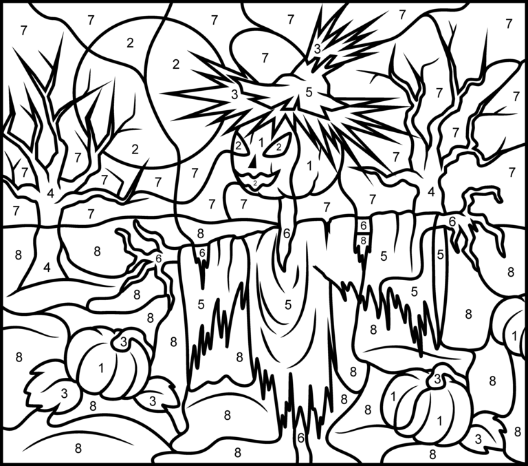 Scarecrow Printable Color By Number Page Hard Halloween Coloring Pages Halloween Coloring Halloween Coloring Pages Printable