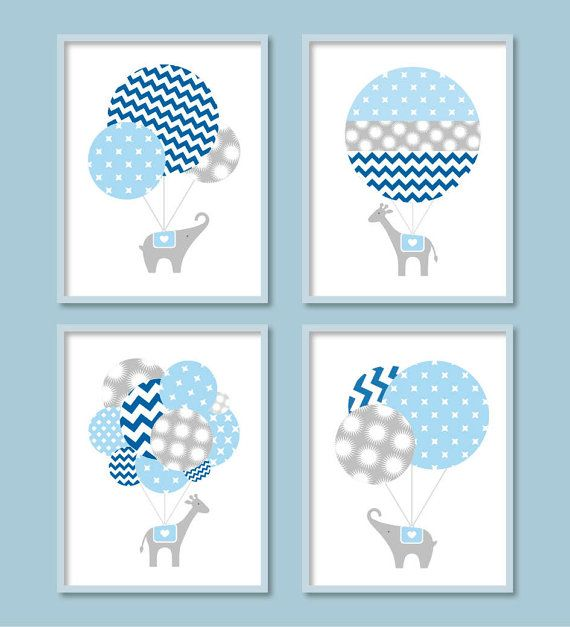 Baby Boy Nursery, Hot Air Balloon, Elephant Nursery, Giraffe Nursery, Chevron Decor, Elephant Wall Art, Blue Grey Decor
