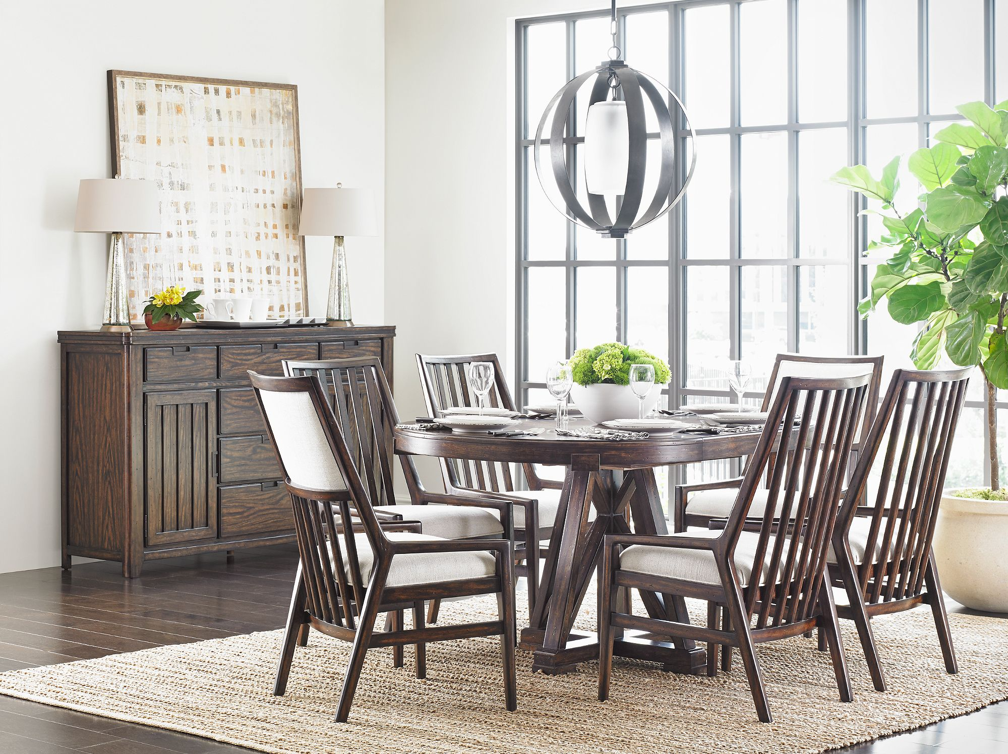 The Textural Beauty Of The Oak Is The Distinguishing Feature Of Stunning Stanley Furniture Dining Room Set Design Inspiration