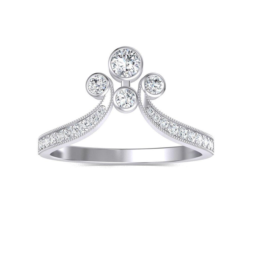 Designer 14k White Gold Diamond Engagement Ring Diamond Statement