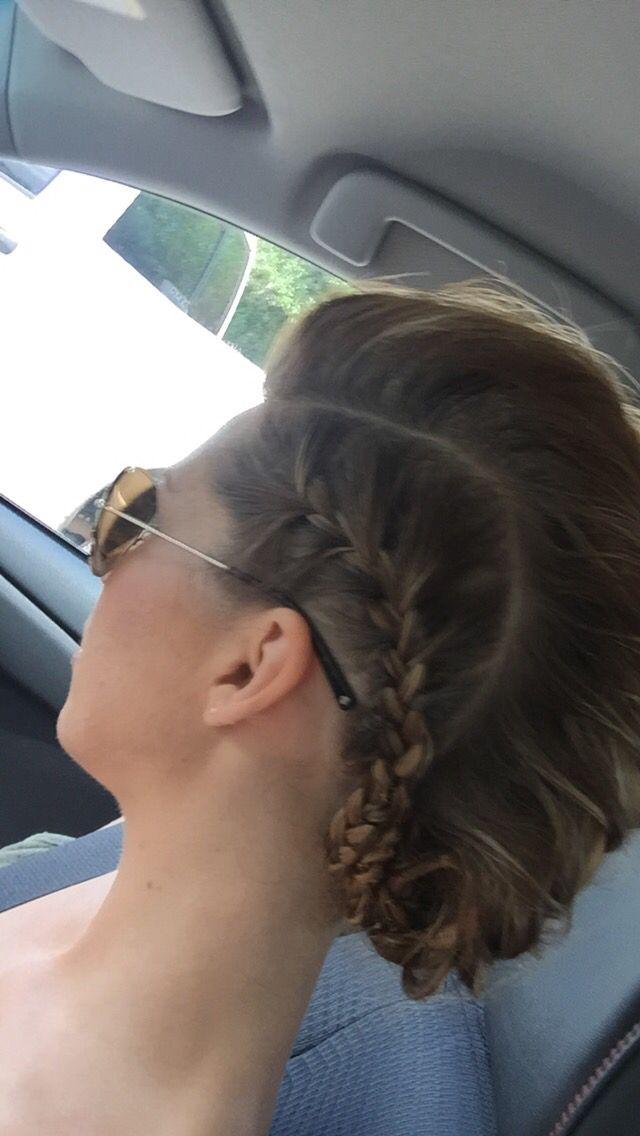 Faux hawk French braid updo - medium length, fine hair, thin