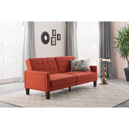 8c54c872a713ac87fea11f350d21ba6a - Better Homes & Gardens Porter Fabric Tufted Futon Rust Orange