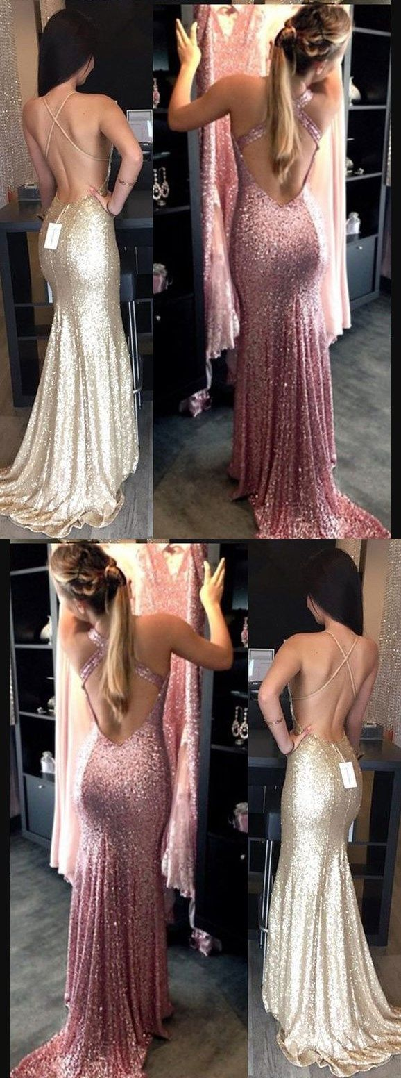 Backless sequin prom dress mermaid gold prom dress long prom dress