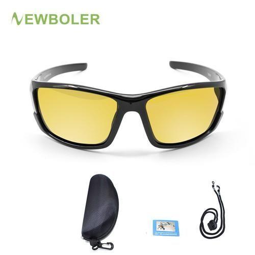 dd2f0b35a60 NEWBOLER Polarized Fishing Sunglasses Yellow Brown Lenses Night Version Men  Glasses Outdoor Sport Driving Cycling Eyewear UV400