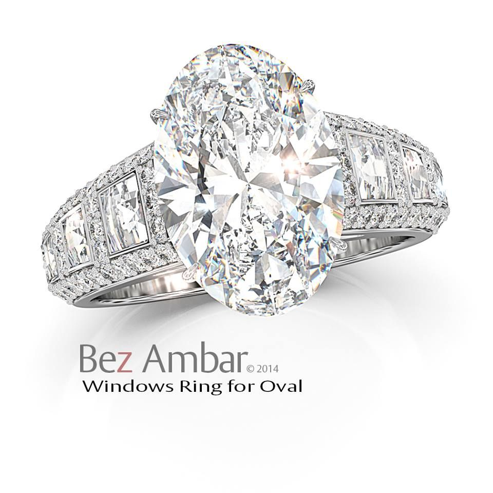 Engagement Wedding Rings OVAL Bez Ambar's  Windows Ring for an oval center #blazecutdiamonds #diamondjewelry #engagementrings www.bezambar.com