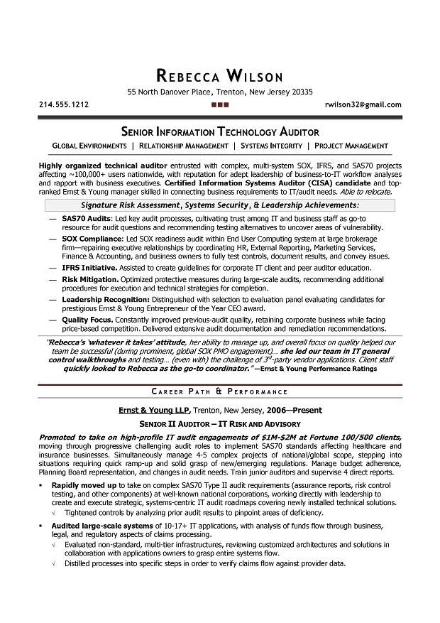 Senior IT Auditor Compliance Sample Resume Resume writer Boulder