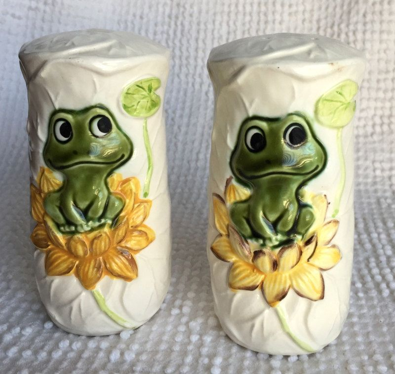 Vintage Porcelain Salt And Pepper Shakers With Frogs 1978 From Sears Roebuck Great Kitchen Decor Gift Idea