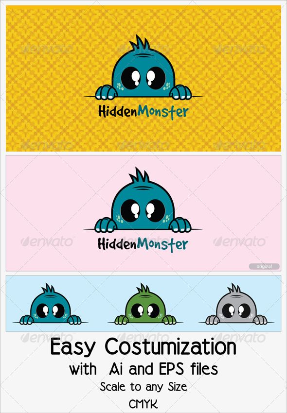 Hidden Monster Logo templates, Animal logo and Logos - monster template