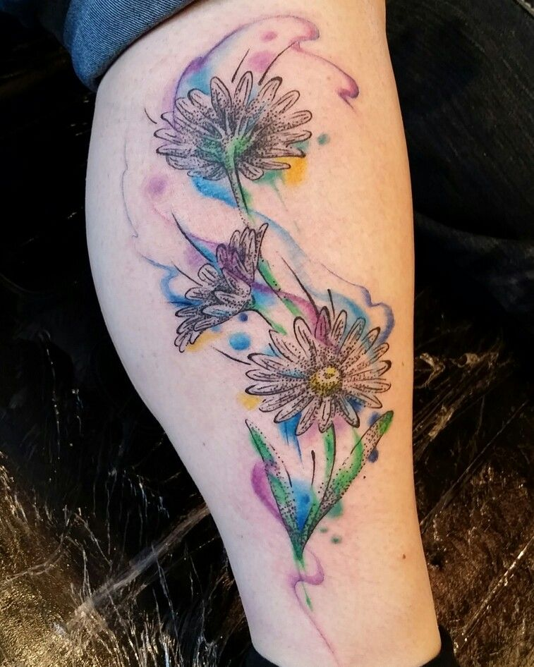 Pretty Daisy Tattoo: Watercolor Daisies Tattoo