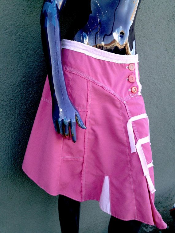 Pink Upcycled Asymmetrical Skirt by JulieMarieSink on Etsy, $60.00