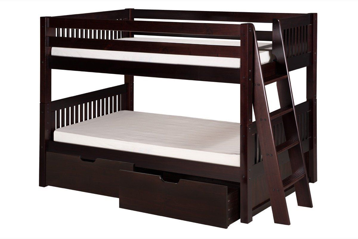 Camaflexi low bunk bed with drawers mission headboard lateral