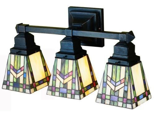Prairie Wheat Mission Tiffany Stained Glass Bathroom Lighting