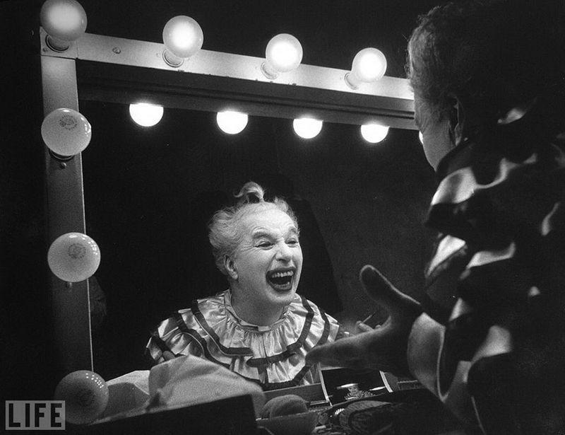 "Charlie Chaplin on set of his film ""Limelight."" . via reddit"