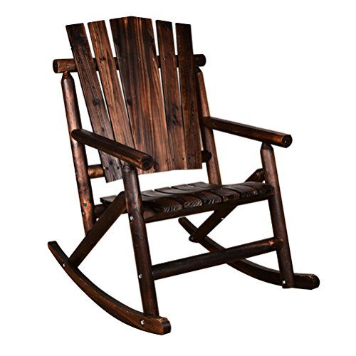 Best Action Club Log Rocking Chair Single Porch Rocker Hardwood 640 x 480