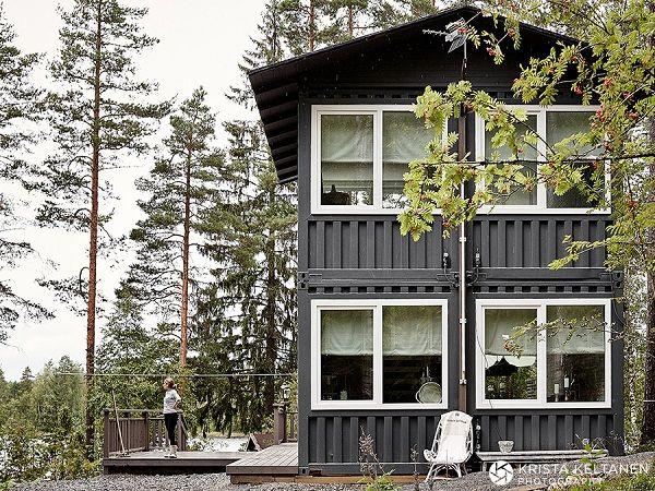 Que tal misturar container e decoração escandinava?