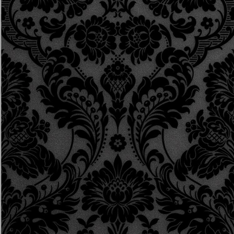 Photo of Gothic Damask Flock Wallpaper – Noir