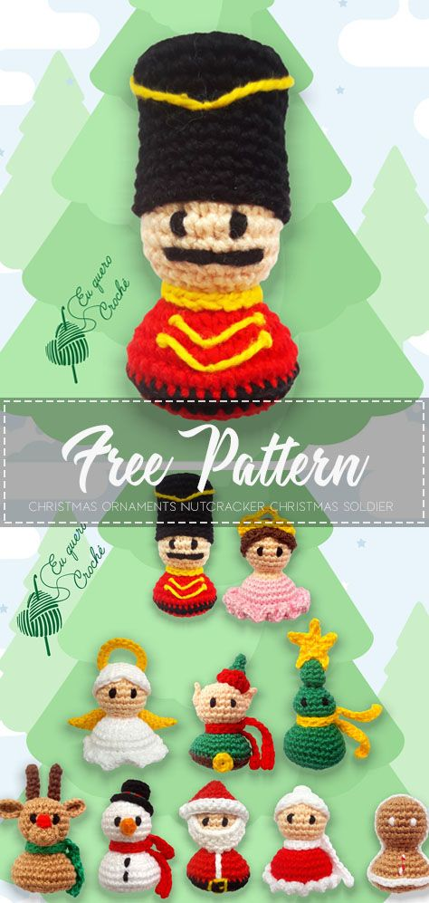 Christmas Ornaments Nutcracker Christmas Soldier – Crochet Pattern #diyornaments