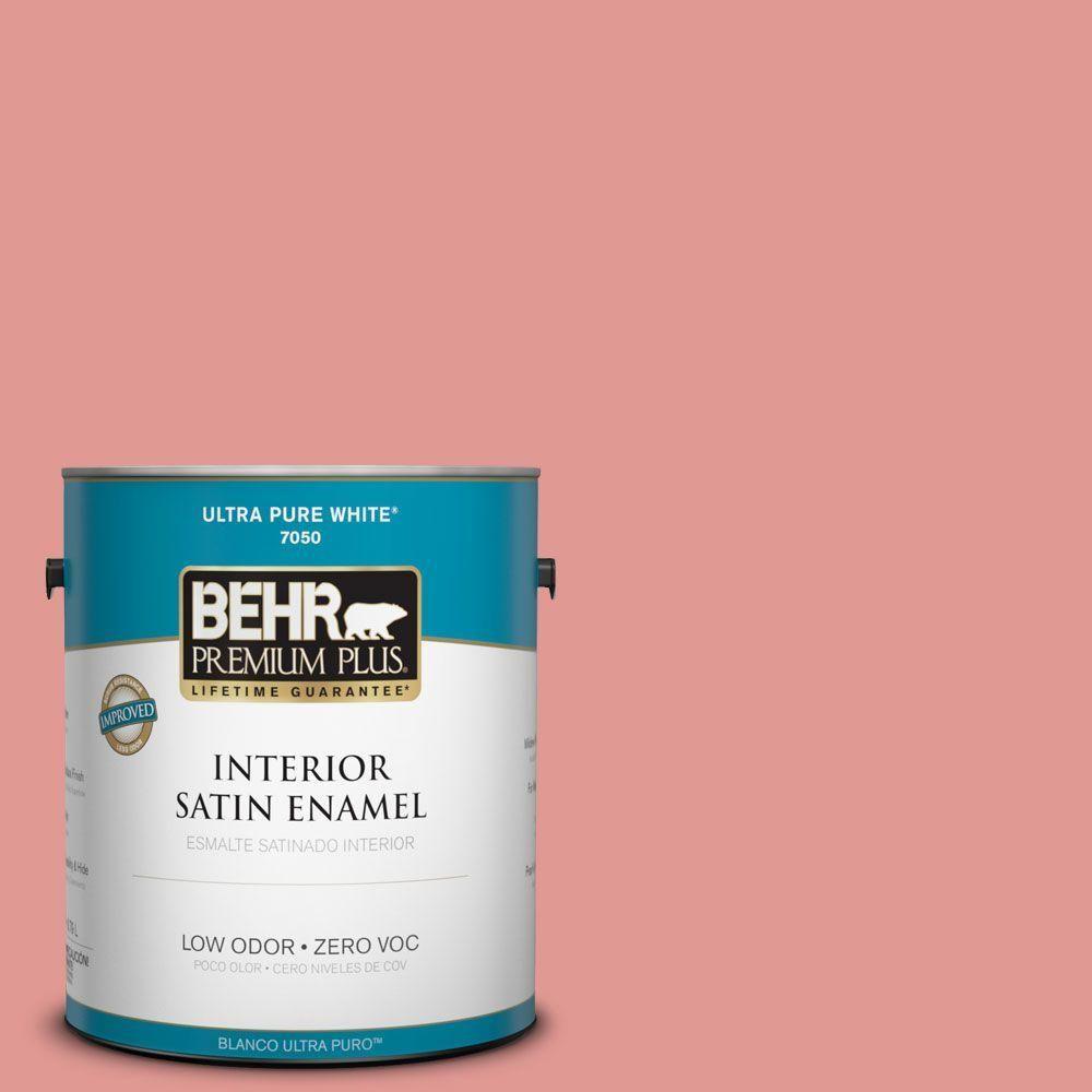 BEHR Premium Plus 1-gal. #160D-4 Strawberry Rose Zero VOC Satin Enamel Interior Paint