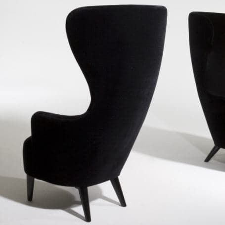 Traditional, yet...not. Tom Dixon's Wingback Chair has mohair velvet upholstery (available in 15 colors) and a solid turned leg with black lacquered or natural finish. Yum. Take a look below the jump to see it in living color in London.