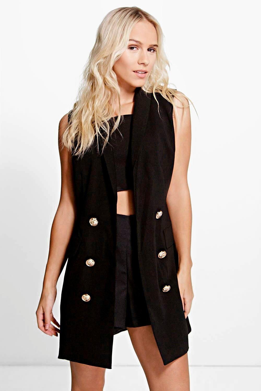 da422fe1fed95 Petite Amy Button Detail Sleeveless Blazer Dress