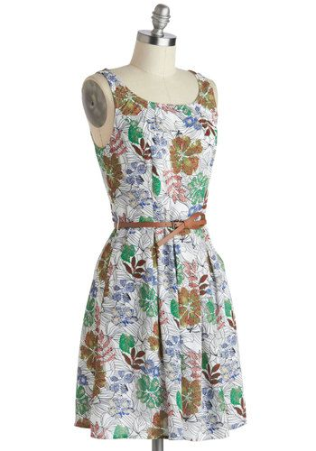 76363e5a7f585 It'll be difficult to outdo the colorful, spotted flowers upon this tropical  white frock, and hard to top ...
