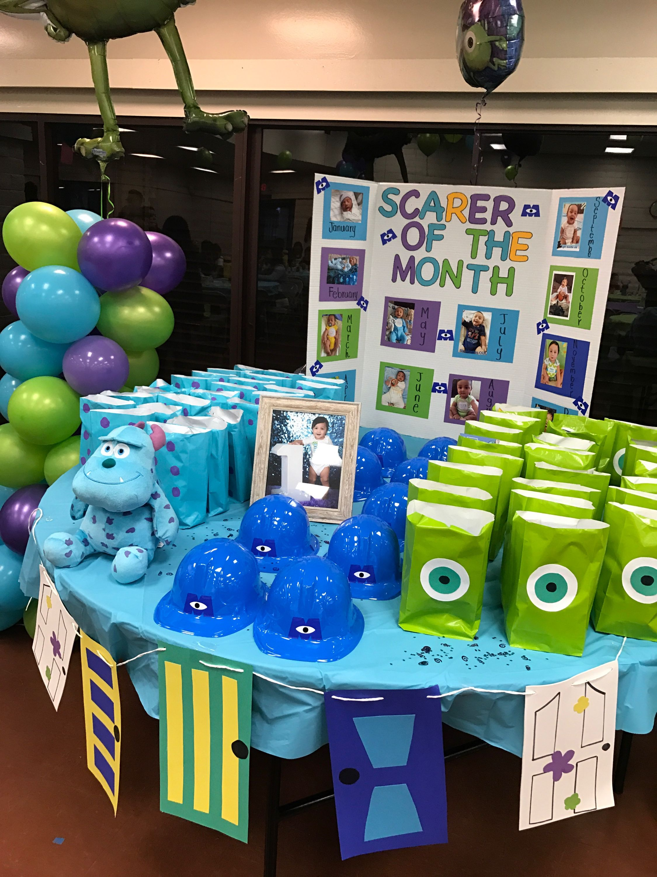 First Birthday Party Monsters Inc Theme With Images Boys 1st