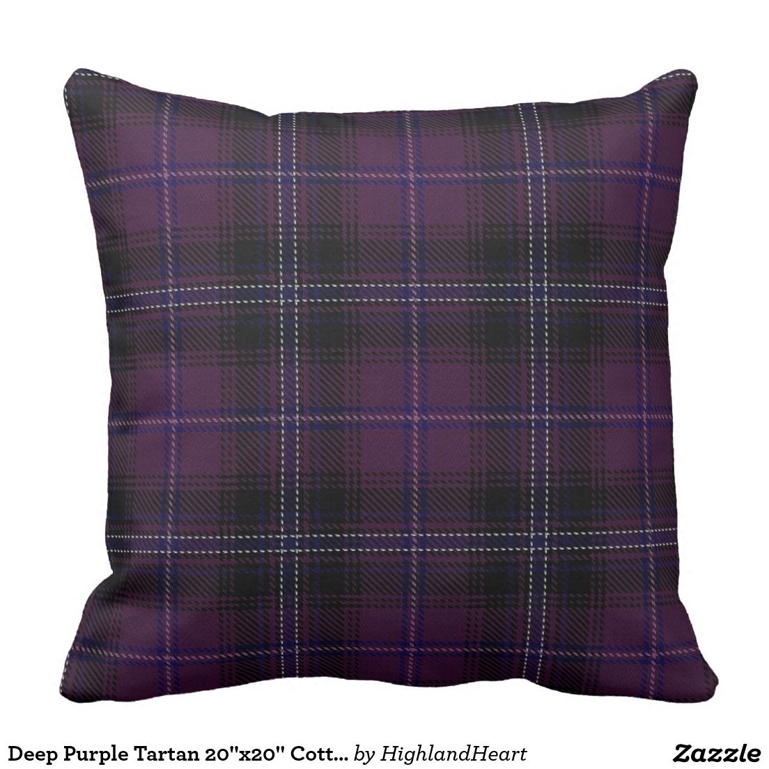 "Deep Purple Tartan 20""x20"" Cotton Throw Pillow"