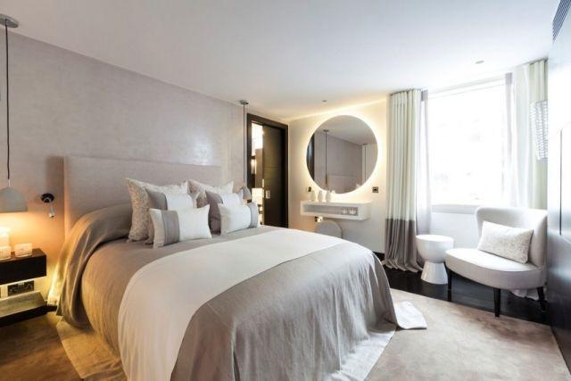 Schlafzimmer modern gestalten hellgrau weiß indirekte beleuchtung - modernes schlafzimmer gestalten ideen