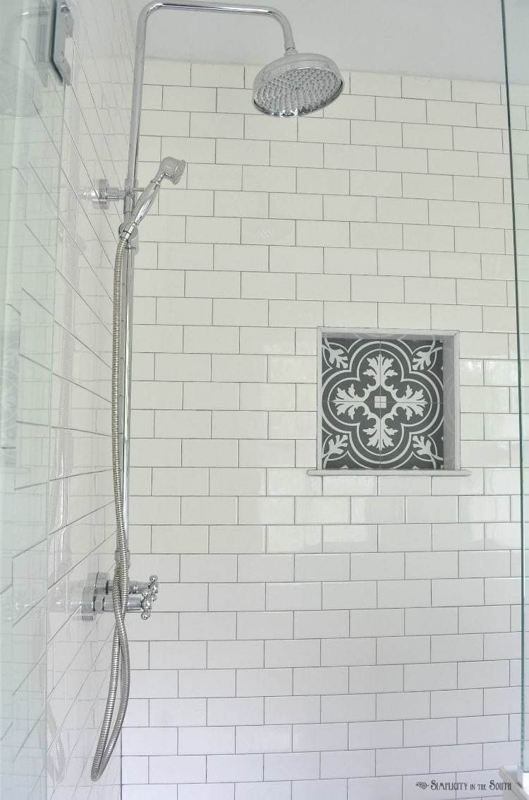 White subway tile is a classic i love the charcoal gray grout and white subway tile is a classic i love the charcoal gray grout and the patterned dailygadgetfo Images