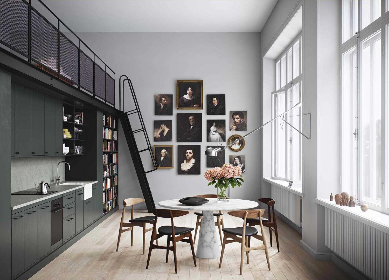 Eettafel in een woonkamer met open keuken - Open keuken, Eettafel en ...