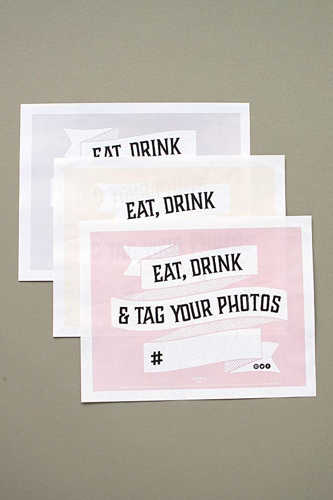 free hashtag wedding printable sign pinterest free wedding