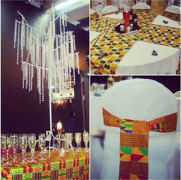 Kente cloth sashes and table runners adult decor party for African themed wedding decoration ideas
