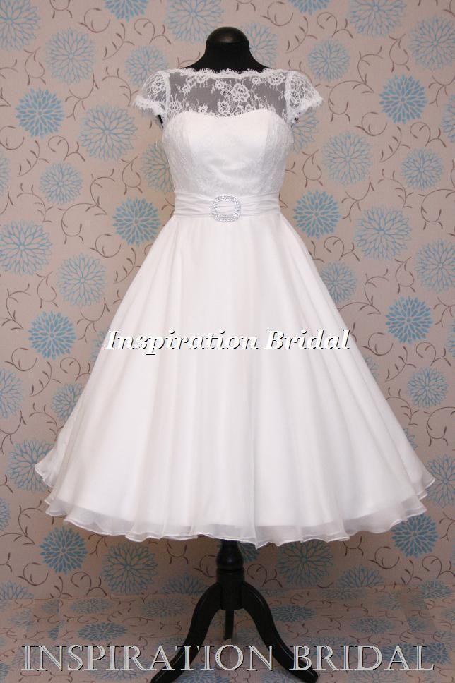 Ohne Gürtel und Spitzenüberwurf - 1549 short 50s 60s wedding dresses tea length knee cap sleeves lace daphne 1950