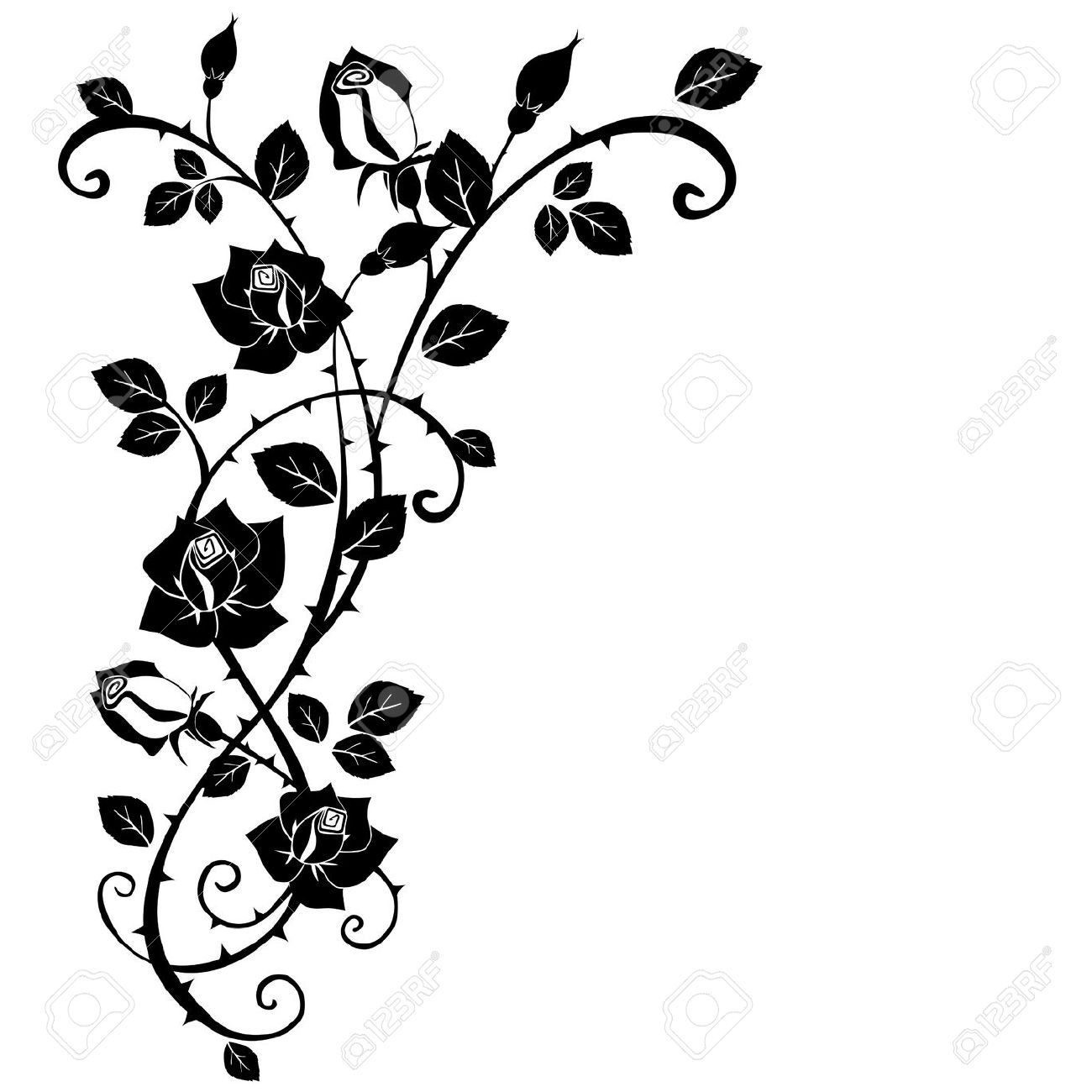 de1ddd422d2fd ... Royalty Free Thorn Clipart. roses branch vine tattoo vector - Sök på  Google