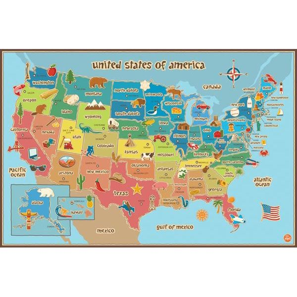 Complete Map Of Usa.Kids Usa Dry Erase Map Classroom Style Decor Kids Wall Decals