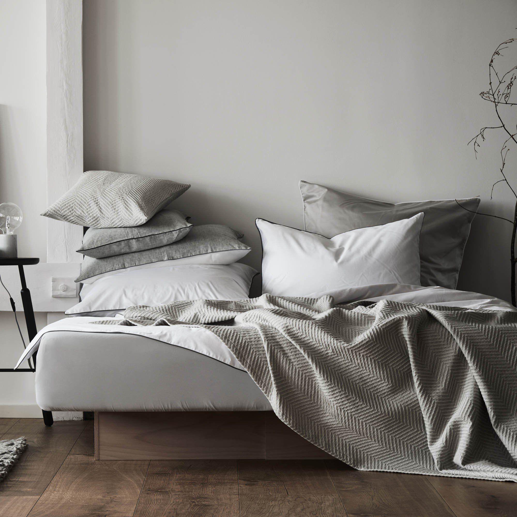 Satin Bettwasche Lanton Weiss Grau 200x200 Cm In 2020