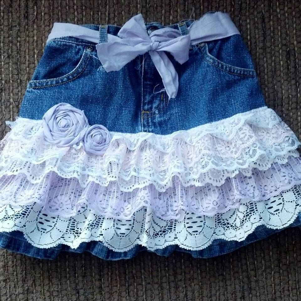 One of a kind recycled, upcycled, repurposed denim skirt. Size 4t. Special orders welcome! Little girls skirt, jean skirt, lace skirt, kids clothes, baby clothes, ruffled skirt