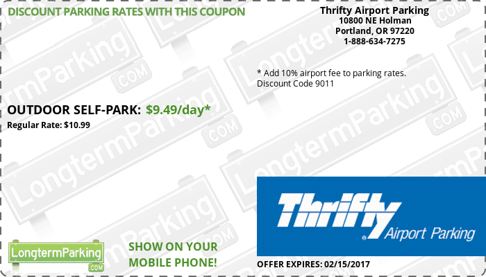 Pdx Long Term Parking >> Thrifty Airport Parking Airport Parking Coupon From
