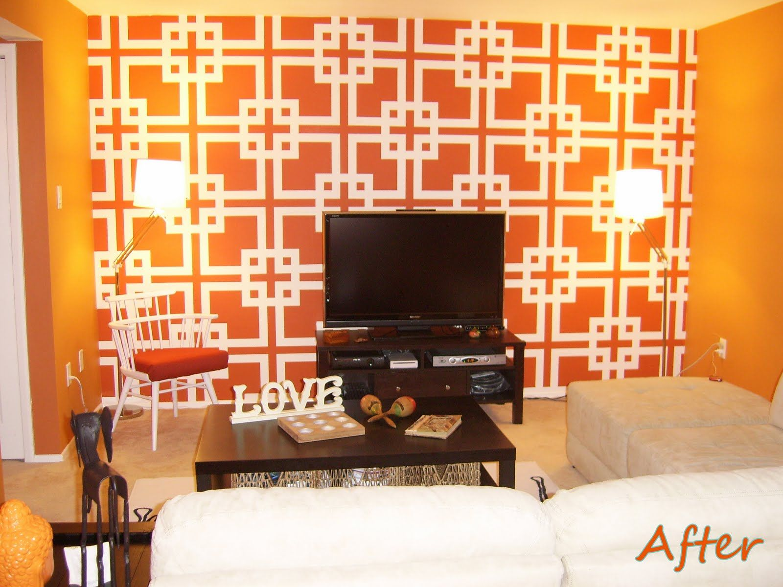 Orange Accent Wall Living Room Dreams House