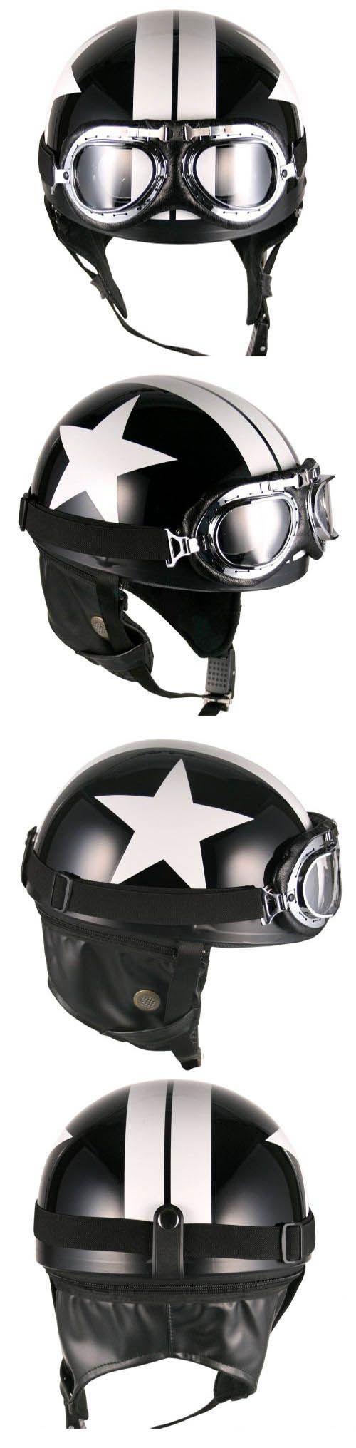 Black White Star Goggle Helmets Half Face Vintage Motorcycle Motorbike   eBay