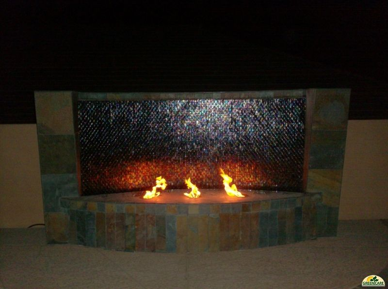 Outdoor Linear Fireplace And Water Combination Images