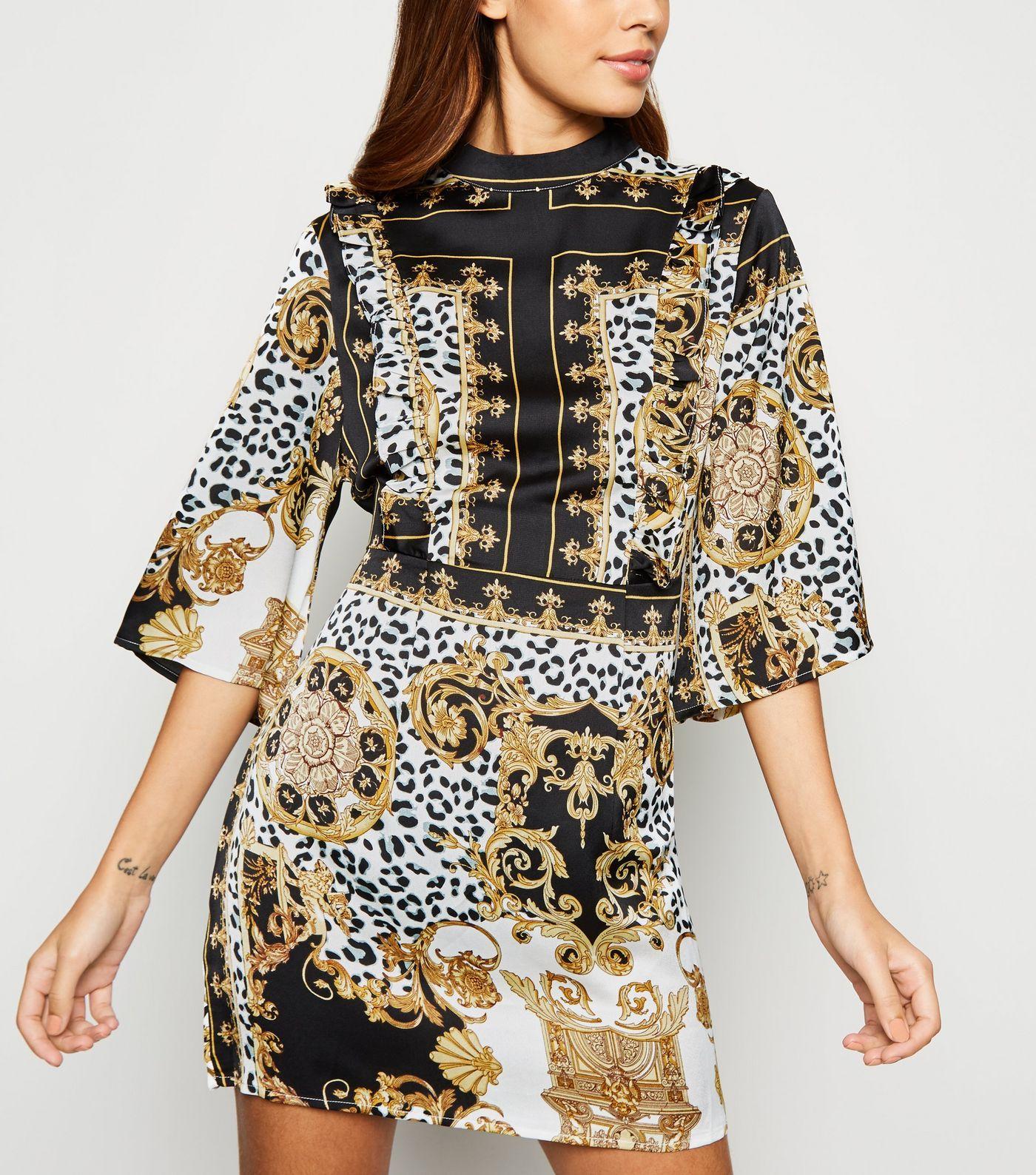 30bc767188 AX Paris Black Satin Chain Print Dress in 2019 | Dresses | Dresses ...
