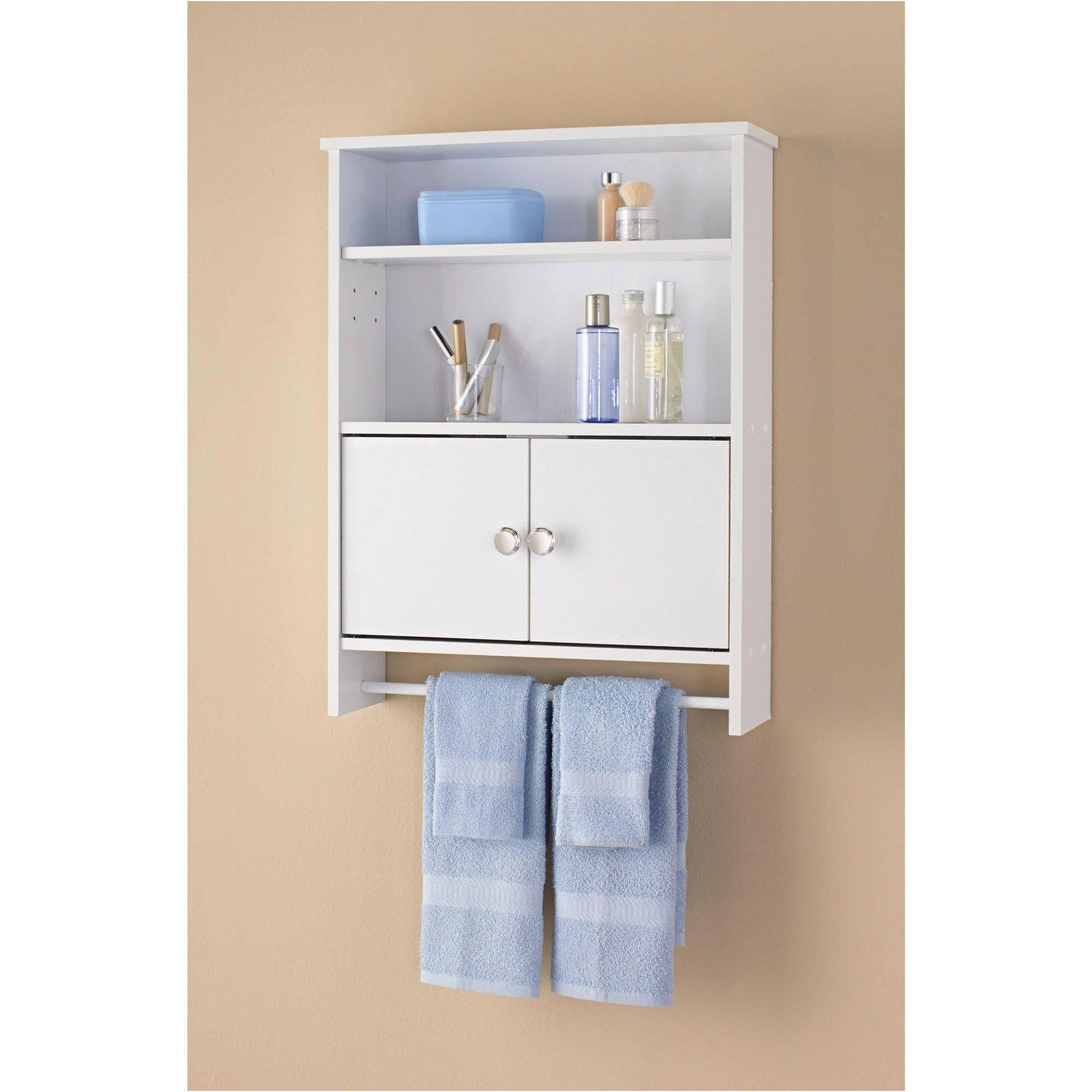 Mainstays 2 Door Wood Wall Cabinet White Walmart From Bathroom